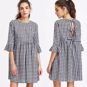 Shein Gingham Bow Tie Back Fluted Sleeve Dress